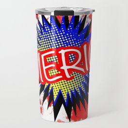 America Red White And Blue Cartoon Exclamation Travel Mug