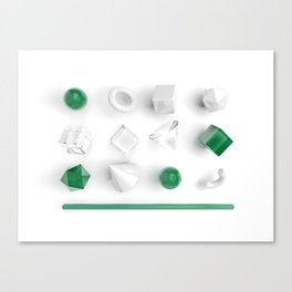 Top view of geometry primitives set in white, glass and green colors Canvas Print