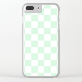 Checkered - White and Pastel Green Clear iPhone Case