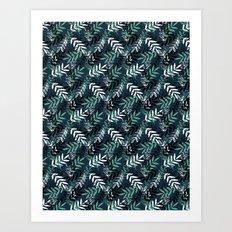 Blue Messy Leaves #society6 #decor #buyart Art Print