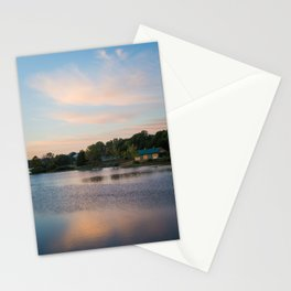 Peaceful Cabin on the Lake During Sunrise Stationery Cards