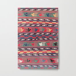 Southwestern Nomad I // 18th Century Colorful Red Blue Green Yellow Shapes and Bands Pattern Metal Print