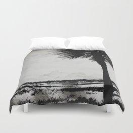 Palm Tree on the Marsh Duvet Cover