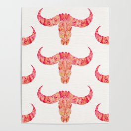 Water Buffalo Skull – Pink Ombré Poster