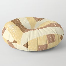 Distressed Wood Inlay Colorblock Geometric Pattern in Golden Yellow Honey Brown Floor Pillow