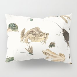 Insects, frogs and a snail Pillow Sham