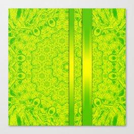 Vibrant green mandala and ribbons Canvas Print
