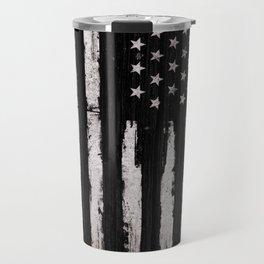 White Grunge American flag Travel Mug