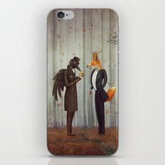 Raven and Fox in  a dark forest looking at the watch iPhone & iPod Skin