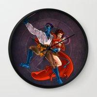 nightcrawler Wall Clocks featuring Nightcrawler & Scarlet Witch by Studio Acramill