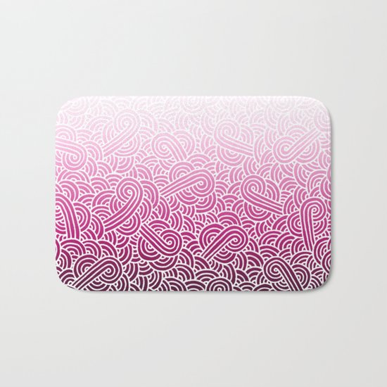 Ombre pink and white swirls doodles Bath Mat