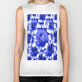 Roses Blue and White Toile #2 Biker Tank