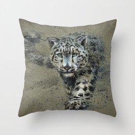 Snow leopard background Throw Pillow