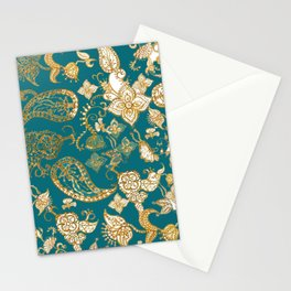 Golden Indian henna in green Stationery Cards