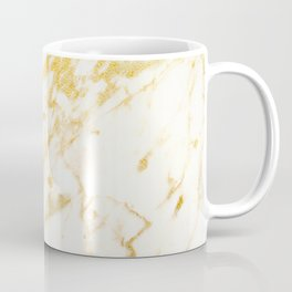 Ivory White Marble With Gold Glitter Ribboned Veins Coffee Mug