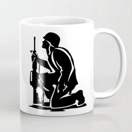 Military Serviceman Kneeling Warrior Tribute Illustration Coffee Mug