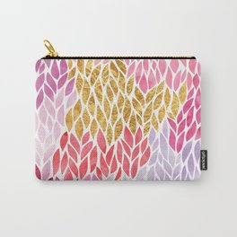 Rose Gold Pink Leaf Pattern Geometric Carry-All Pouch