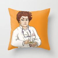 oitnb Throw Pillows featuring Red OITNB by StephDere