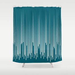 Off White Simple Minimal Frequency Line Art on Tropical Dark Teal Inspired by Sherwin Williams 2020 Trending Color Oceanside SW6496 Shower Curtain