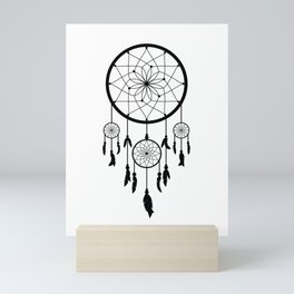 Black Dream Catcher - Native American Indian Art Mini Art Print