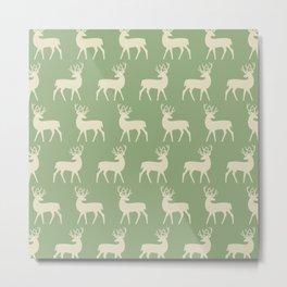 Mid Century Modern Deer Pattern Sage and Tan Metal Print