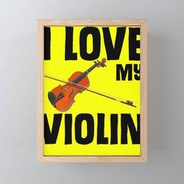 I love my violin musical Framed Mini Art Print