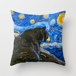 Bear Van Gogh (Painting Retouch) Throw Pillow