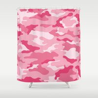 military Shower Curtains featuring Military Camo - Pink by MoshFox