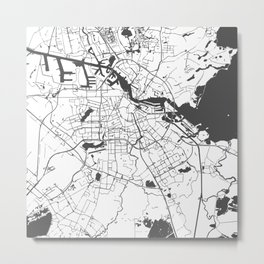 Amsterdam White on Gray Street Map Metal Print