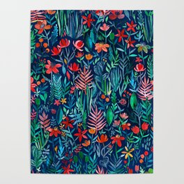 Tropical Ink - a watercolor garden Poster