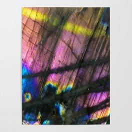 Labradorite and All it's Colors Blue Pink Yellow Purple Flash Magic Vibrant Abundance Poster