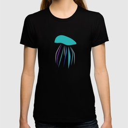 Casual graphic blue funny stylish cartoon jellyfish and neon sea world with purple octopus fish T-shirt