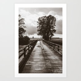 Wooden brigde vintage Art Print
