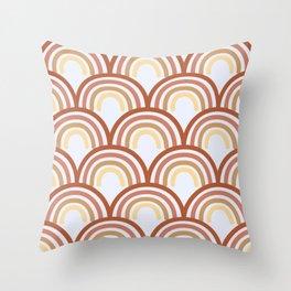 Retro Rainbow Repeat in Rust Throw Pillow