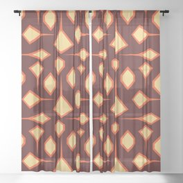 New Grid City in Fire Sheer Curtain