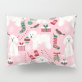Bichon Frise pink christmas holiday themed pattern print pet friendly dog breed gifts Pillow Sham