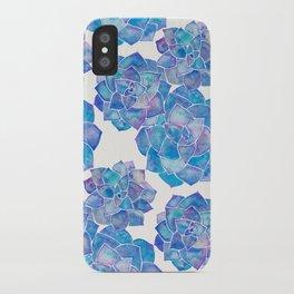 Rosette Succulents – Blue Palette iPhone Case