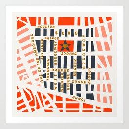SOHO MAP NYC PINK Art Print