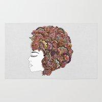 hair Area & Throw Rugs featuring Her Hair - Les Fleur Edition by Bianca Green