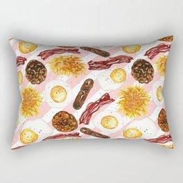 American Diner Breakfast on Red Rectangular Pillow