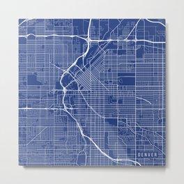 Denver Map, USA - Blue Metal Print