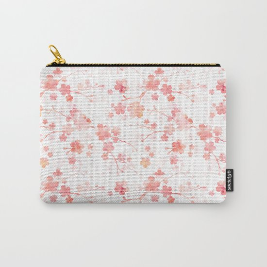 Peach pink Chinese cherry blossom on white by adenajdesign