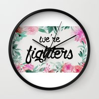 foo fighters Wall Clocks featuring fighters by Pat Taveras