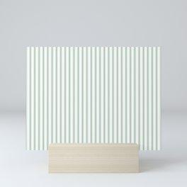 Mattress Ticking Narrow Striped Pattern in Moss Green and White Mini Art Print