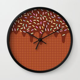 chocolate waffles with flowing chocolate sauce and sprinkles Wall Clock