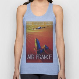 Vintage Mid Century Travel Poster Air France Jet African Islamic Mosque Monochrome Orange Sunset Unisex Tank Top