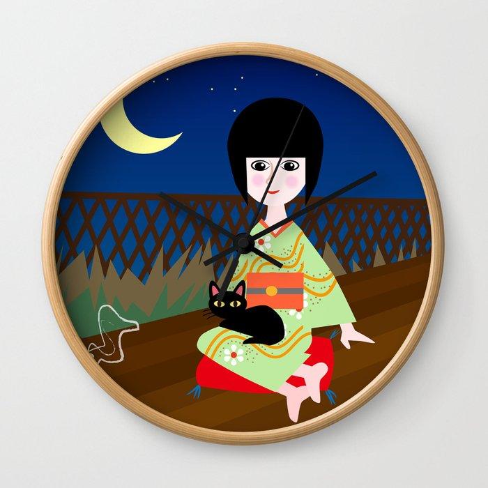 Japanese girl and kitty Wall Clock