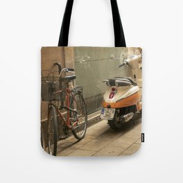 Bikes and a Scooter on Old Road Tote Bag