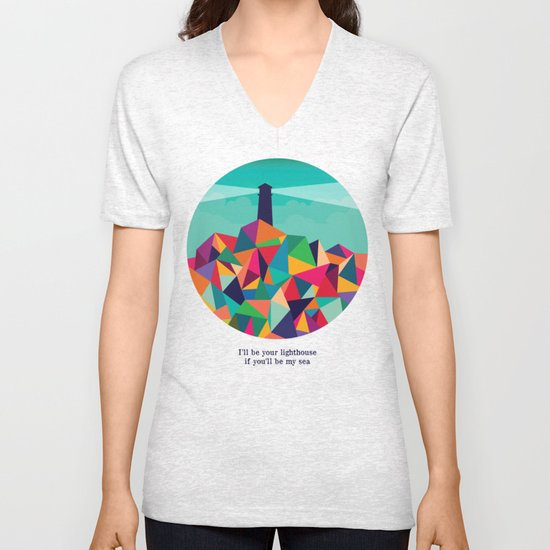 I'll be your lighthouse if you'll be my sea Unisex V-Neck