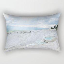 Hot Springs | Ancient Roman Baths Travertine Teal Water Mountain Landscape Photograph Majestic Sky Rectangular Pillow